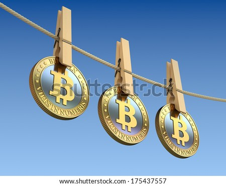 Bitcoins with wooden clothespins - 3D laundering concept  - stock photo
