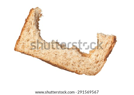 Bites taken off a slice of bread leaving only the crust isolated on white background