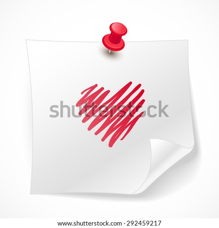 Bitmap a piece of paper. Realistic drawn illustration of white paper and a heart on a light background. - stock photo