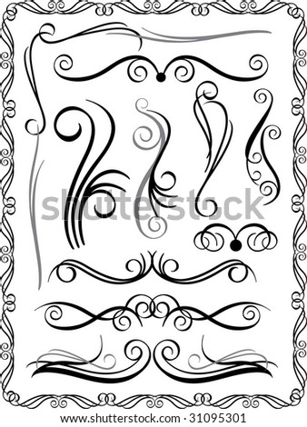 Bitmap collection #1 of decorative border elements. Vector also available. - stock photo