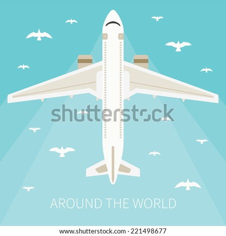 Bitmap illustration for tourism industry, travelling on airplane, planning summer vacations. - stock photo