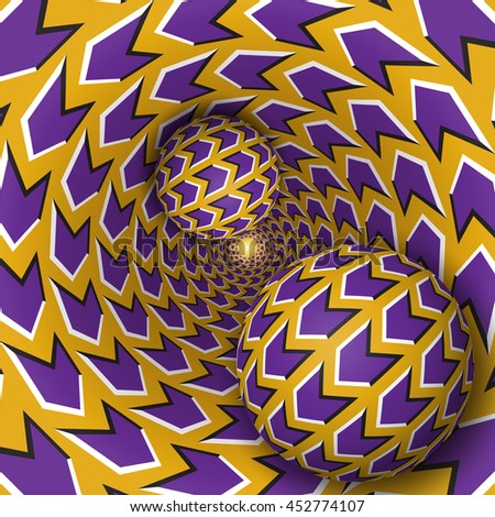 Bitmap optical illusion illustration. Two balls are moving on rotating funnel. Purple arrows on golden pattern objects. Abstract fantasy in a surreal style. - stock photo