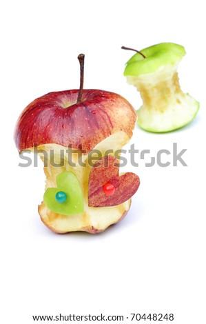 bitten apples in love - stock photo