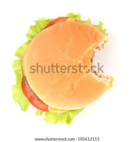 Bitten cheeseburger isolated on white - stock photo