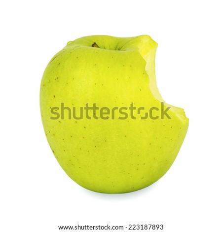 bitten green apple. Isolated on white background - stock photo