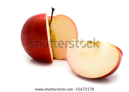 Bitten red apple on a white background for your illustrations - stock photo