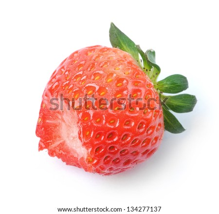 Bitten strawberry isolated on white background - stock photo