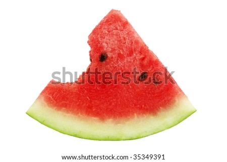 Bitten watermelon, isolated - stock photo