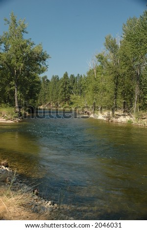 Bitterroot river, Montana - stock photo
