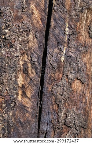 Bituminous, rough, scorched surface texture of an old weathered, rotten, cracked Square Timber Bollard, made of obsolete, scrapped Railroad Cross Tie Timber, with traces of ash and soot. - stock photo