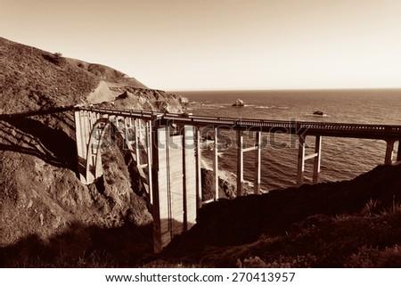 Bixby Bridge as the famous landmark in Big Sur California. - stock photo