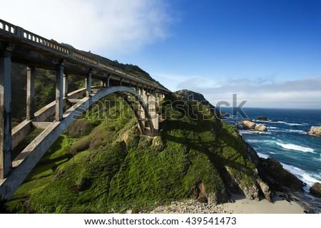 Bixby Bridge at Pacific Coast as part of Road Number 1, California - stock photo