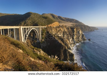 Bixby Bridge in Big Sur, California - part of the scenic Pacific Coast Highway (SR 1) - at sunset. - stock photo