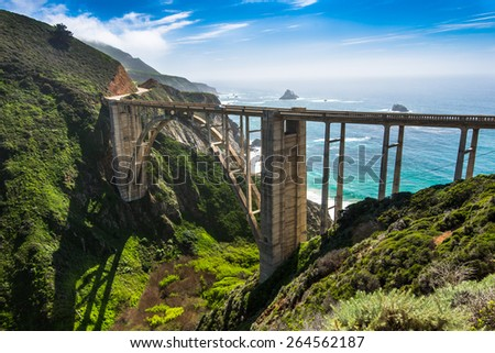 Bixby Bridge is one of beautiful and famous arch bridge in California coast. - stock photo