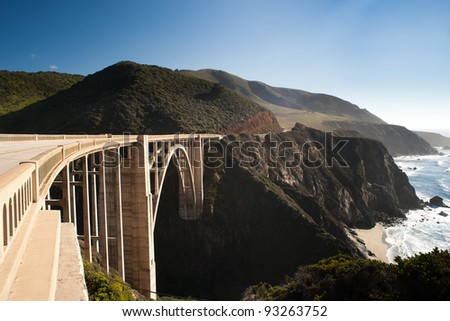 Bixby Creek Bridge in the Big Sur, California - stock photo