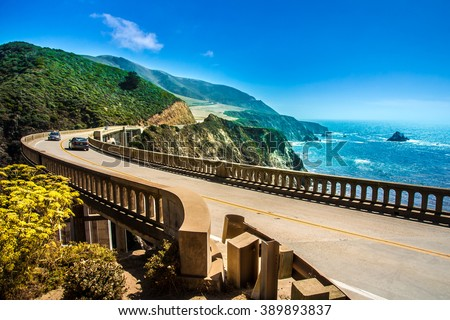 Bixby Creek Bridge on Highway #1 at the US West Coast traveling south to Los Angeles, Big Sur Area  - stock photo
