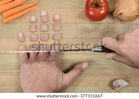 Bizarre food preparing - stock photo