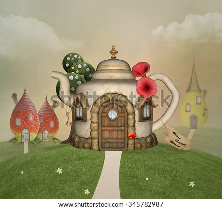 Bizarre houses in a spring scenery - stock photo