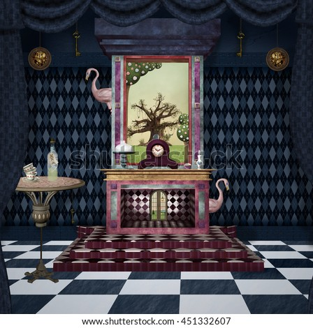 Bizarre room with fireplace, table, flamingos and other stuff inspired by Alice in wonderland fairytale - 3D and digital painted illustration - stock photo