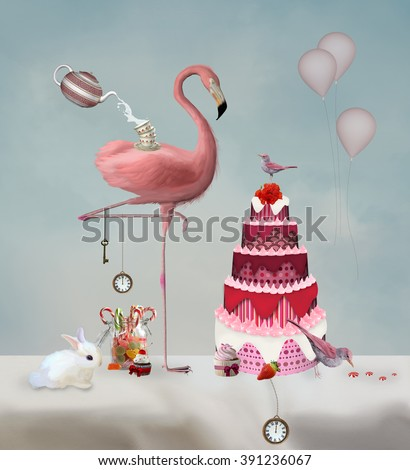 Bizarre tea party with flamingo - stock photo