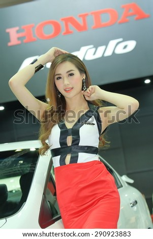 BKK. THAILAND-JUNE 24 : Status Toyata booth with super model in Bangkok International Auto Salon 2015, 24-28 June 2015 at Bangkok Thailand. Event of decoration & modify car of Thailand and Japan also. - stock photo