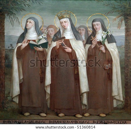 Bl. Archangela Girlani, Frances d'Amboise and Joan of Toulouse, Carmelite Saints, The Church Stella Maris, Haifa, Israel - stock photo