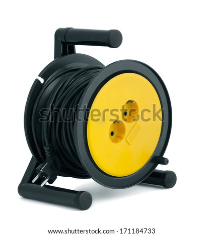 Black able extension reel isolated on white - stock photo