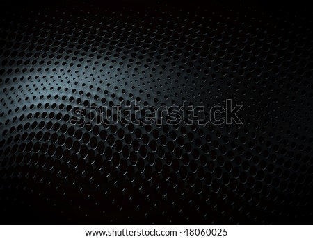 black abstract background with metal dots - stock photo
