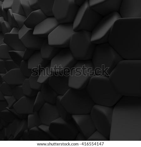 Black abstract hexagons backdrop. 3d rendering geometric polygons, as tile wall. Interior room - stock photo