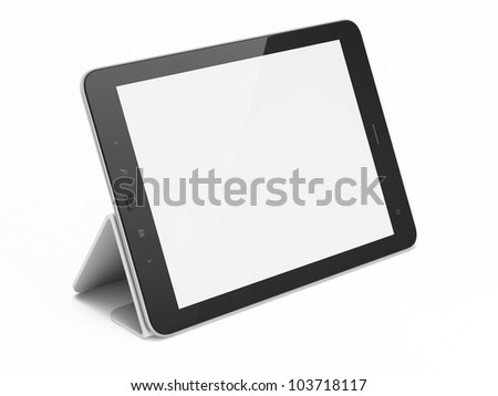 Black abstract tablet computer (pc) on white background, 3d render - stock photo