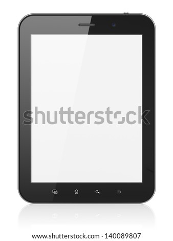 Black abstract tablet computer (tablet pc) on white background, 3d render. Modern portable touch pad device with white screen. - stock photo