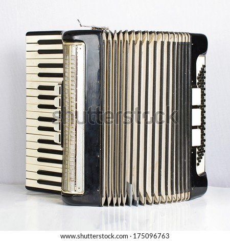 Black accordion opened - stock photo