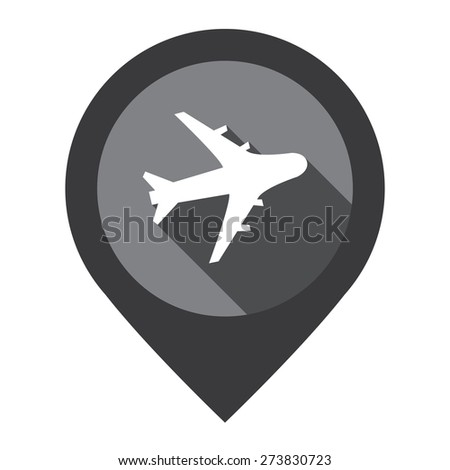Black Aeroplane, Airplane, Airport, Landing Field, or Logistic Map Pointer Icon Isolated on White Background  - stock photo
