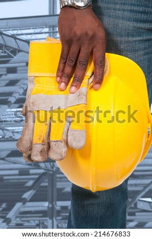 Black African American man Construction Worker on a job site (photo illustration / image composite)  - stock photo