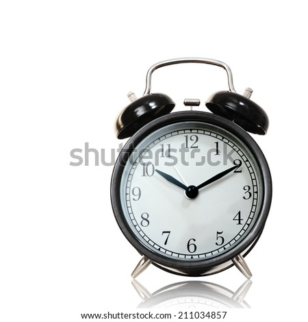 Black alarm clock isolated on white background, cliping path.      - stock photo