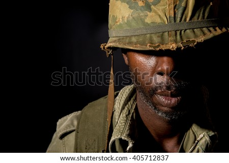 Black American G.I. With PTSD - Vietnam War  - stock photo