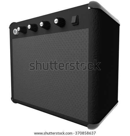 Black amp for guitar, isolated over white, 3d render - stock photo