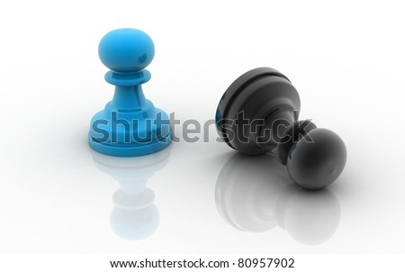 Black and blue chess pieces isolated on a white background - stock photo