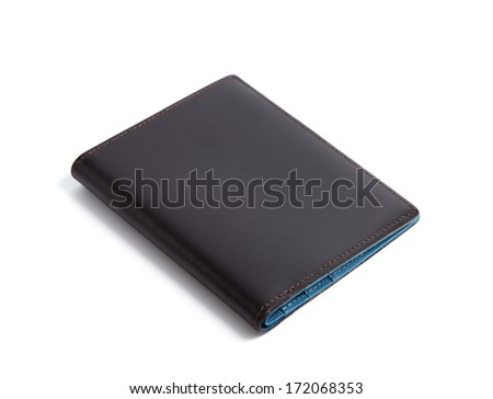 black and blue wallet isolated on white background - stock photo