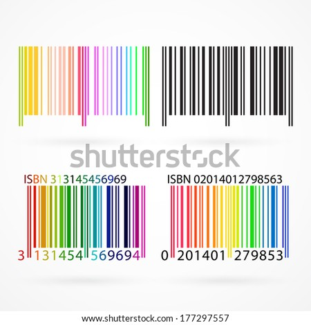 Black and colored barcode with shadows. Vector illustration. - stock photo