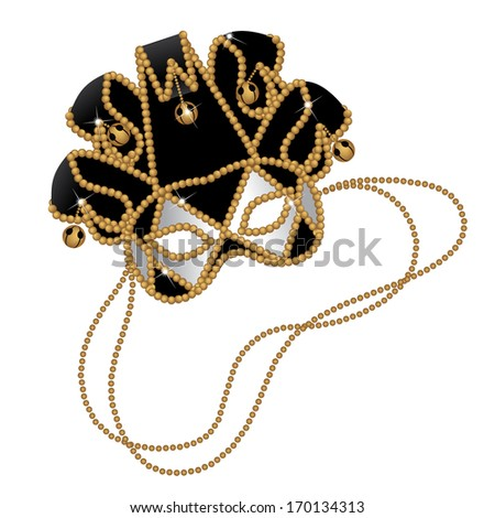 Black and gold Jester mask. Jpg. - stock photo