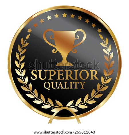 Black and Gold Metallic Superior Quality Label, Sticker, Banner, Sign or Icon Isolated on White Background - stock photo