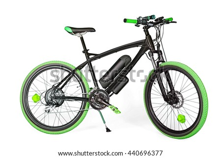 Black and green electric bike isolated on white with clipping path - stock photo