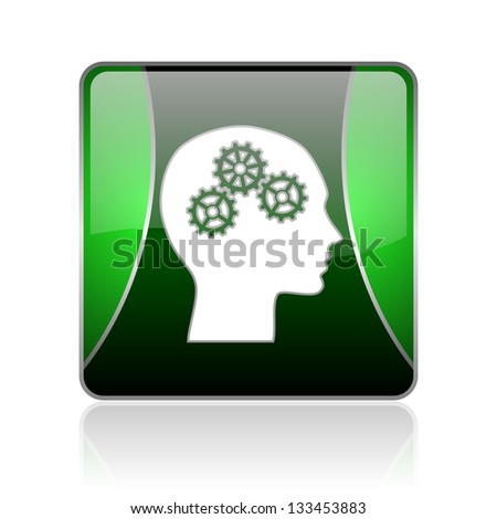 black and green square glossy internet icon on white background with reflaction - stock photo