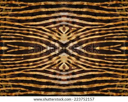 Black and orange kaleidoscope zebra skin pattern - stock photo