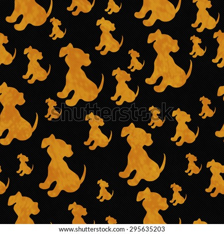 Black and Orange Puppy Dog Tile Pattern Repeat Background that is seamless and repeats - stock photo