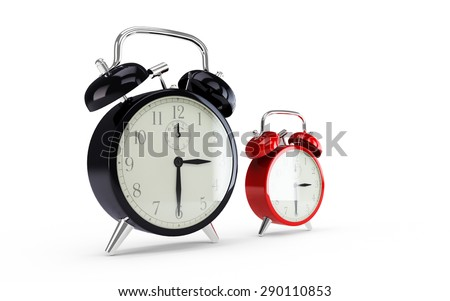 Black and red alarm clock isolated on white background - stock photo