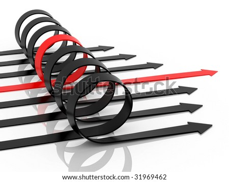 black and red arrows on a white background - stock photo