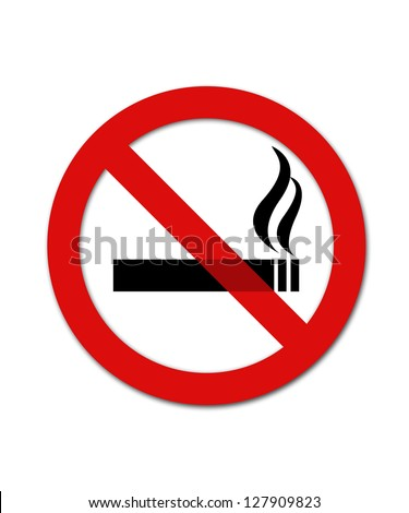 Black and red no smoking smybol - stock photo