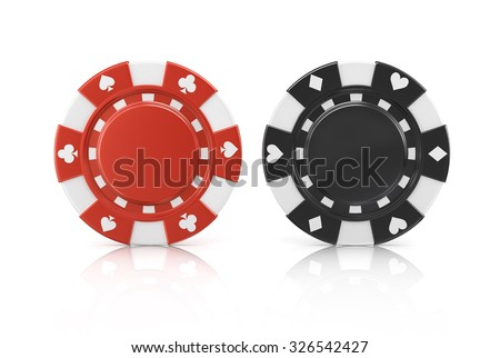 Black and red poker chips, isolated on a white background - stock photo